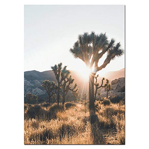 Desert Cactus Canvas Poster Landschaft Natur Joshua Tree Wandkunst Druck Gemälde Dekoration Bild Home Decoration 30x40cm