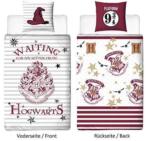 Character World Wende Bettwäsche-Set Harry Potter 135 x 200 cm 80 x 80 cm, 100% Baumwolle, Linon, Hogwarts, deutsche Standartgröße