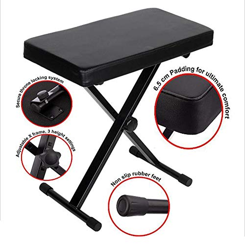 Great Features Of Stools LIUNA Foldable X Frame Highly Adjustable Padded Keyboard Bench Piano Keyboa...