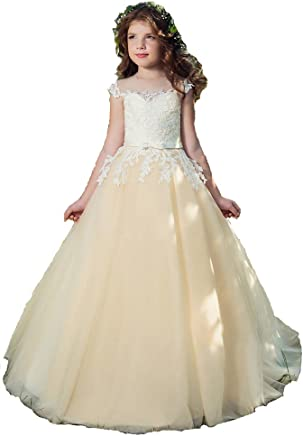 4a7b3ae95686 Michawa Flower Gril Waist Lace Strap Dresses Ball Gown Wedding Birthday  Party Social Gatherings