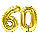 Siumir Numéro Ballons 60 Ans Géant Ballons en D'or Foil Helium Ballons Fête d'anniversaire Ans Anniversaire Décoration