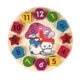 Forma de Madera Clasificación Reloj de Juguete con números y Formas Educación Puzzle Juguete de Madera Número de Reloj Reloj de Juguete Bebé Puzzle Digital Geometría Digital Reloj de Juguete, SWSM