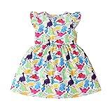 HWTOP Baby Mädchen Mädchenkleid mit Cartoon Dinosaurier Druck großer Schleife Kurzarm Kinder Kleider Babykleid Partykleid Partei Festliches Kleid Sweetkleid