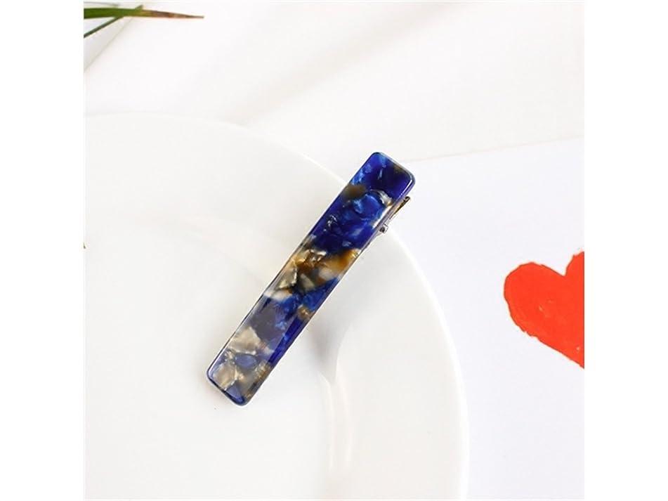 粗い洗剤びっくりしたOsize 美しいスタイル 長方形の大理石のパターンヘアピンダックビルアリゲータークリップアクセサリー女性の女の子(ロイヤルブルー)