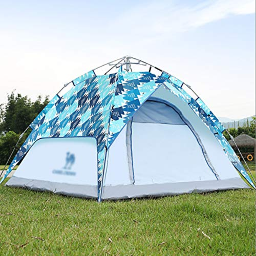 IMBM Outdoor Bouncing Tent 3-4 People Automatic Quick-opening Waterproof Camping Tent Equipment(Color:Light blue)