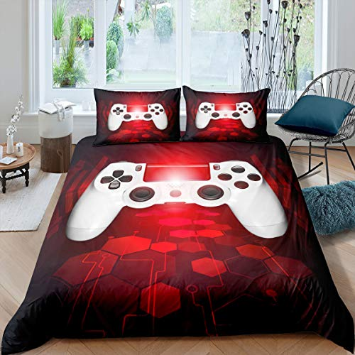 Gamer Comforter Cover for Boys Kids Teens Video Games Bedroom Decor Bedding Set Girls Youth Red White Game Gamepad Bedding Collection Twin Size Player Gaming Electronic Game Pattern Bedspread