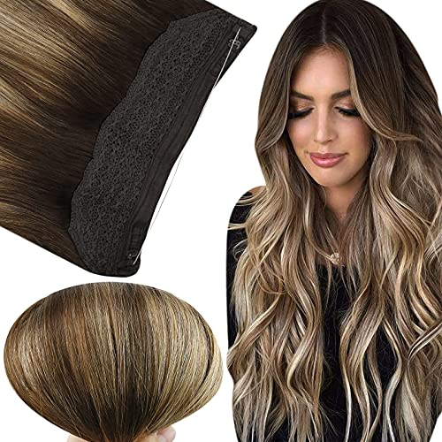 Fshine Crown Hair Extensions Human Hair Layered Wire Hair Extensions 20In Secret Headband Wire in Hair Extensions Undectable Invisible Human Hair 80G Balayage Clip in Hair Extensions Brown to Blonde