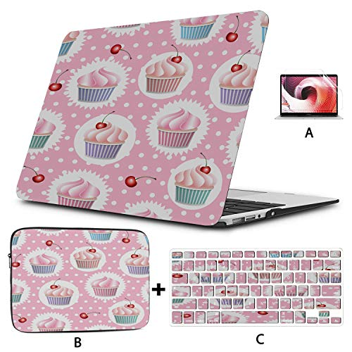 Macbook Pro Computer Case Colorful Vector Seamless With Cupcakes And Macbook Pro 13inch Case Hard Shell Mac Air 11'/13' Pro 13'/15'/16' With Notebook Sleeve Bag For Macbook 2008-2020 Version