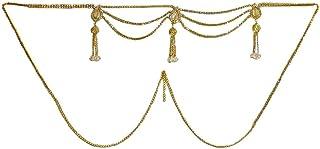 DollsofIndia White Stone Studded Kamarband - Waistband - 16 x 3 inches Chain - 34 inches (RM88)