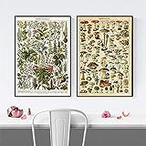 WJWGP Vintage GemüSe Blume Pilz Antike Wand Bilder