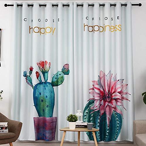 Gtfzjb Vorhang, Kaktus, Grünpflanzen, raumhohe Innenfenster, Verdunkelungsvorhänge - B280 * H165cm