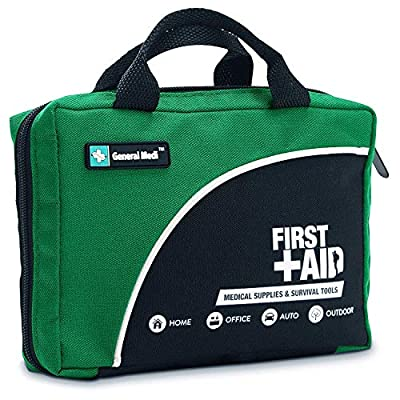 General Medi 160 Piece Compact First Aid Kit Bag - Including Cold (Ice) Pack, Emergency Blanket,CPR Mask,Moleskin Pad,Perfect for Travel, Home, Office, Car, Camping, Workplace (Green) by HANGZHOU AOSI HEALTHCARE CO.,LTD
