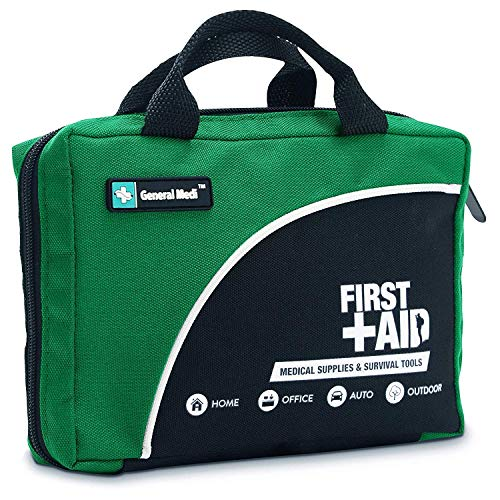 General Medi 160 Piece Compact First Aid Kit Bag - Including Cold (Ice) Pack, Emergency Blanket, Moleskin Pad,Perfect for Travel, Home, Office, Car, Camping, Workplace (Green)
