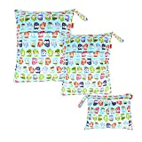 Damero 3pcs Dry Bag pacchetto Wet per pannolini di stoffa pannolino Bag Daycare sacchetto dell'organizzatore, Gufi Carino