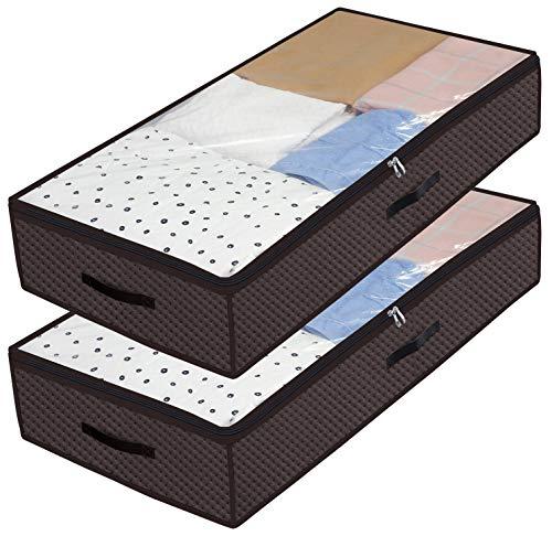 homyfort Cada 2 Bolsa de Almacenamiento - para edredones Ropa Debajo de la Cama Bolsa de Almacenamiento con Cremallera y 3 Cuero Asas, Plegable, 100 x 50 x 18 cm, Marrón X3KR100L