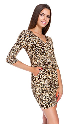 FUTURO FASHION Dames Mini Jurk Dier Zebra & Panter Patronen Womens V Neck Wrap Tuniek Maten M-3XL 8949