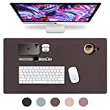 Leather Desk Pad 36' x 20', Vine Creations Office Desk Mat Waterproof Dark Brown, Mouse Pad and Writing Surface, Top of Desks Protector, Large Dual-Sided Pu Leather Blotter Accessories Office Decor
