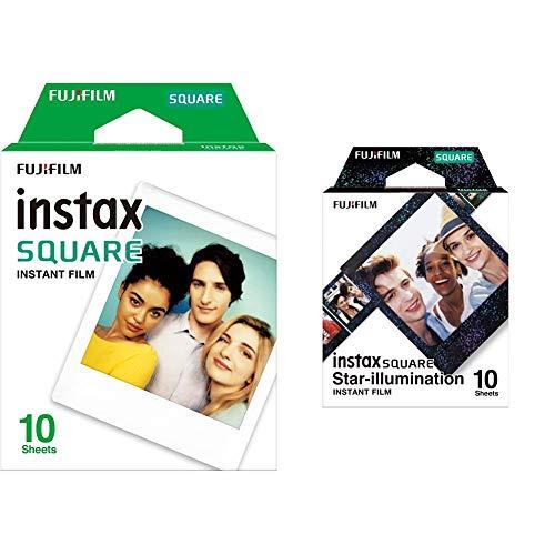 Fujifilm Instax Square WW 1 Film, Weiß & Fujifilm Instax Square Star Illumination, Bunt metallic