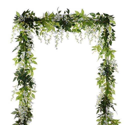 YQing 4 Piezas Flores Artificiales Seda Glicina Guirnalda Artificial Wisteria Vid Ratán Seda Flor Colgante para el Jardín del Hogar Boda Arco Decoración Floral