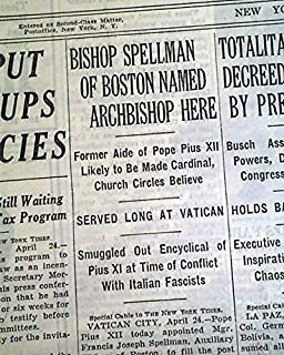 FRANCIS SPELLMAN Archbishop of New York Roman Catholic Church 1939 NYC Newspaper THE NEW YORK TIMES, April 25, 1939