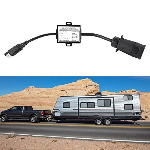Convertidor de luz de Remolque, Conector de Enchufe de Remolque Instalación Plug-and-Play para remolcar un vehículo Estadounidense de 4 vías y un Remolque Europeo de Pasador Redondo de 7