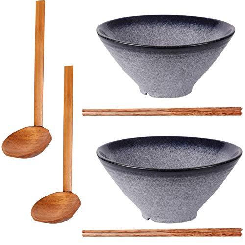 Noble Createaprototype Ramen Schüssel aus Keramik, Japanischer 2 Sets (6 Stück) 1000ml Ramen Schüssel, Vintage Ramen Bowl Salatschüssel, für Udon Soba Pho Asiatische Nudeln …