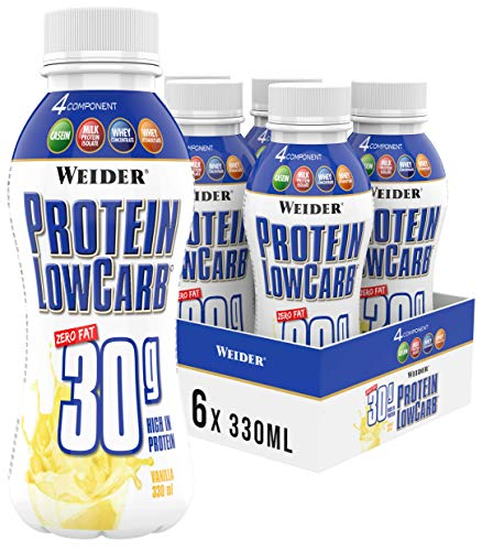 Weider Protein Low Carb Shake Ready to Drink 30 g, Vanille, Eiweiß aus Whey + Casein, 6er Pack (6x330 ml)