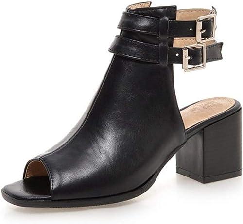Femmes Sandales Eté Strap Cheville Boucle Peep Toe Slingback Bloc Talon Chaussures Romaines
