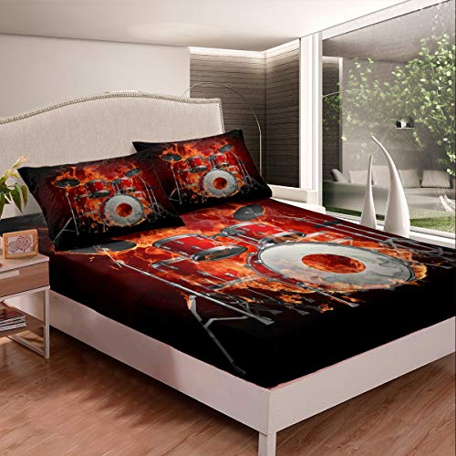 Feelyou Drum Kit Sheets Rock Music Theme Bed Sheet Set for Kids Boys Teens Musical Instrument Bedding Set Campus Band Concert Fitted Sheet Bedroom Collection 2Pcs TwinXL Size