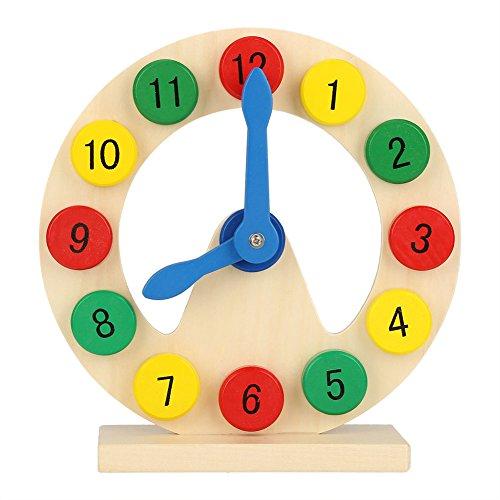 Lernuhr 1-12 Pädagogisches Spielzeug Lerngeschenk für Kleinkinder Kinder Baby Holz Bunt