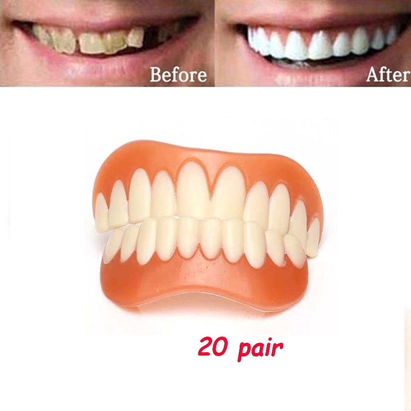 から不確実教育学インスタント笑顔の歯、歯のサイズを修正するための20ペアの完璧なスマイリーシリコンベニアシミュレーションブレース男性の女性のための最もフィットする(下+上)