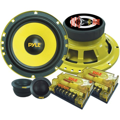 "2Way Custom Component Speaker System 6.5"" 400 Watt Component with Electroplated Steel Basket, Butyl Rubber Surround & 40 Oz Magnet Structure Wire Installation Hardware Set Included Pyle PLG6C"
