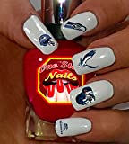 Seahawks clear Vinyl PEEL and STICK (NOT Waterslide) nail decals/stickers V1. Set of 68.