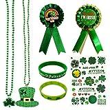 St. Patrick's Day Accessories Set Irish Themed Tattoo Shamrock Necklace Button Pins Bracelet for Saint Patricks Party Favors Party Supplies(7pcs)