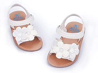Meckior Baby 0-18 Month Girls Sandals Rubber Sole Non-Slip Summer Shoes Outdoor Shiny Princess Stripy Sandal