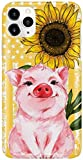 Pink Pig and Sunflower Phone Case for Apple iPhone - Glass Case with 3D Printed Design, Slim Fit, Anti Scratch, Shock Proof,Cover Compatible for iPhone (11)