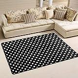 ALAZA Classic Black White Polka Dot Area Rug Rugs Mat for Living Room Bedroom 6'x4'