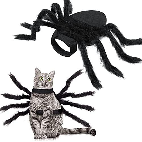 Disfraz de Halloween del Gatos Perros, Decoraciones de Halloween, Decoración de Araña, Suministros para Fiestas de Halloween, Disfraces de Cosplay de Araña con Celcro Ajustable para Perros y Gatos