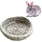 GZGZADMC Portable Grass Bed for Small Pet, Woven Grass Small Pet Rabbit Hamster Guinea Pig Cage Nest House Chew Toy Bed Pet Supplies-22x22cm