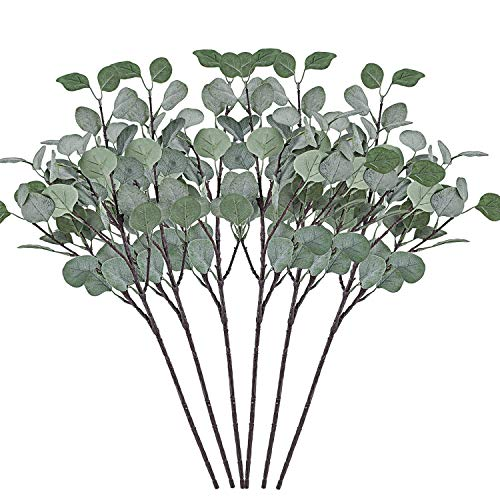 Cyanbamboo 6pcs Artificial Leaves Long Branches Plants Fake Dollar Eucalyptus Leaf Spray for Home Party Wedding Office Shop Decor 25 Inch
