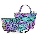 Bolso de mano geométrico, 3pcs / set Bolso de hombro luminoso geométrico de la PU Bolso cruzado Bolso de embrague para mujer Conjunto de bolso reflectante holográfico, Bolso de cintura, Cartera