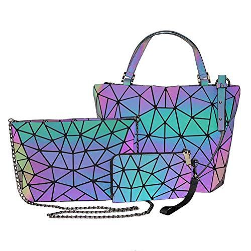 Yumira Handtasche Set Damen, Geometrisches Gitter Design Geometrische Tasche PU Leder Leuchtende Schultertaschen Umhängetasche Geldbörse Holographic Reflektierende Handtaschen Clutch Tasche 3pcs/set