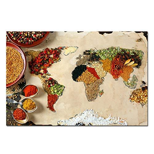 HJKLP Granos Especias Cuchara Mapa Arte de la Pared Póster de Cocina e Impresiones Condimentos Imágenes de Alimentos en Lienzo Cuadro para Sala de Estar Decoración del hogar 40x60cm Sin Marco