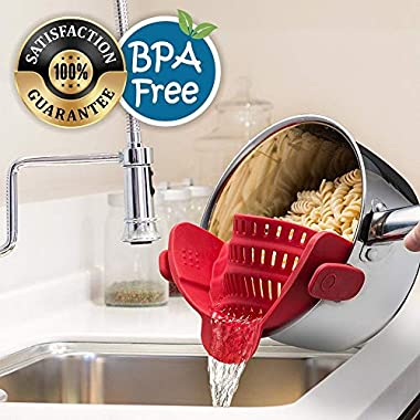 Eutuxia Clip-On Silicone Strainer. Perfect Colander & Sieve Alternative for Straining Food. Easy Snap-On Universal Fit Design for All Pots, Pans, and Bowls. Heat Resistant, Dishwasher Safe, BPA Free.