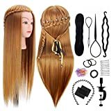 Training Mannequin, TopDirect 26'' Brown Hairdressing Training Head - Salon Cosmetology Hair Hairdressing Practice Training Head Model - Hair Styling Exercise Head with Clamp & Tools