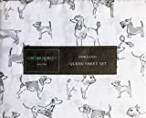 Cynthia Rowley Bedding 4 Piece Queen Size Bed Sheet Set Gray Dogs Puppies Dalmationas Scotties Poodles in Shades of Gray on White