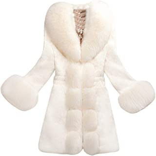 Womens Winter Faux Fur Coat Warm Thick Plus Size Trench Jacket Luxury Long Cape Casual Outwear Overcoat Party