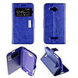 Funda con tapa y ventana para Alcatel One Touch C7, color azul