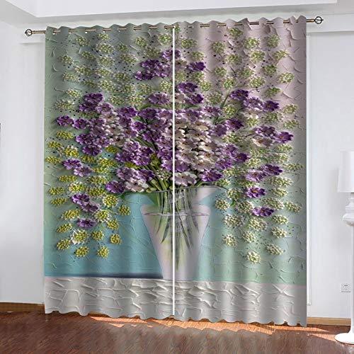 WLHRJ Cortina Opaca en Cocina el Salon dormitorios habitación Infantil 3D Impresión Digital Ojales Cortinas termica - 280x245 cm - Patrón de impresión de jarrón Morado
