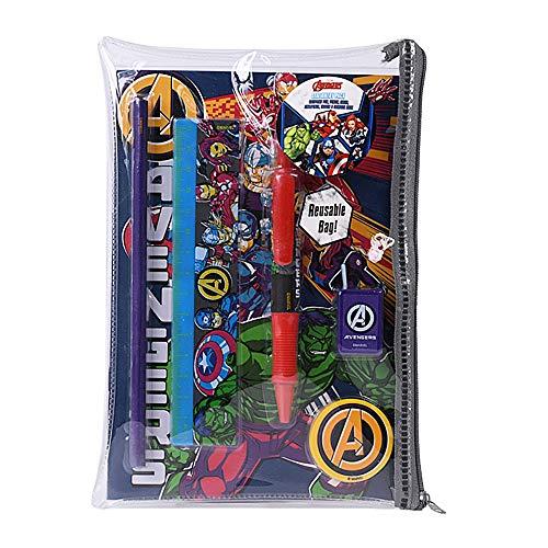 Marvel Avengers Burst - Juego de papelería para libro de ejercicios, lápiz y borrador